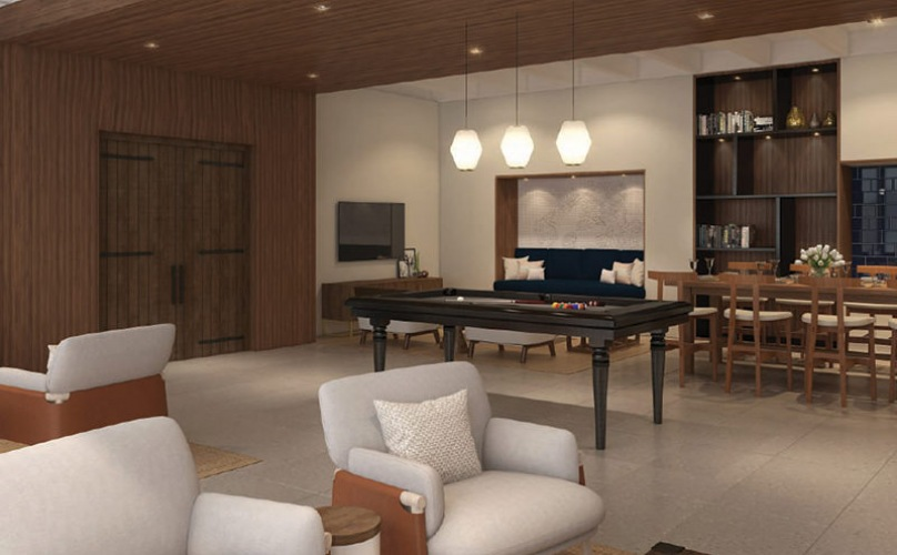 Resident Clubhouse with lounge spaces and a pool table