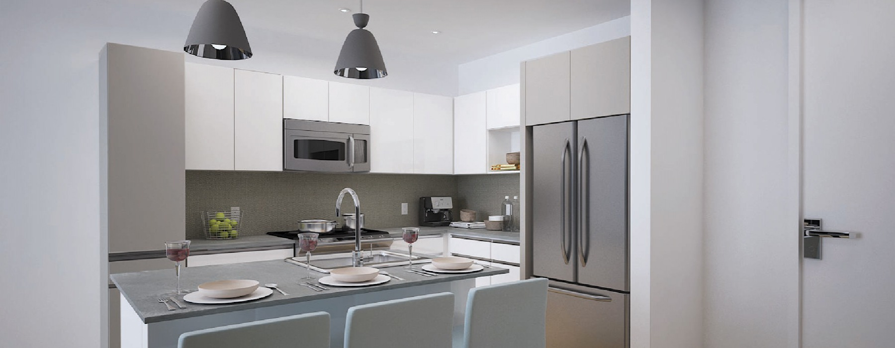 Kitchen with an island and ample cabinet space